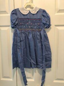 Polly Flinders Smocked Girls Vintage Dress Size 6
