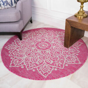 Pink Medallion Circle Rug Washable Indoor Outdoor Rug Easy Clean Dining Room Mat