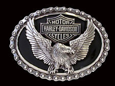 Harley Davidson Mens Everlast Eagle B&S with Bike Chain Border Silver Buckle