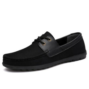Mens Casual Comfy Lace Up Loafers Flats Breathable Canvas Driving Moccasins Shoe