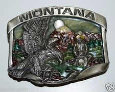 Vintage 1984 MONTANA Color Inlaid Gold MINER Panning Eagle Solid Belt Buckle NM