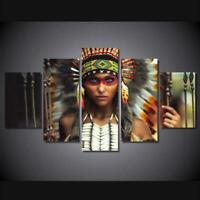 Native American Indian Girl 5 Piece Canvas Wall Art Poster Print Home Decor