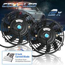 2x 8''inch Universal Slim Fan Push Pull Electric Radiator Cooling 12V Mount Kit