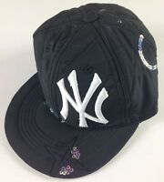 New York Yankees Adult SZ 7 Fitted Hat Sequins RARE Error Cap NBA Soft USA Made