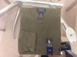 Polo Ralph Lauren Men's Olive Green Soft & Light Waffle Thermal Crew-Neck Shirt