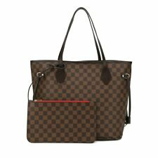 Ajentee Checkered Tote Shoulder Bag With Bonus Pouch - Big Capacity Handbag