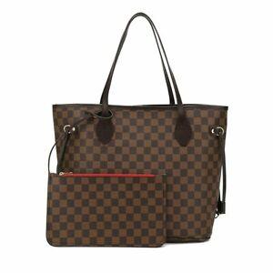 AJENTEE Checkered Tote Shoulder Bag with BONUS Pouch - Big Capacity Handbag
