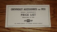 1951 Chevrolet Car & Truck Accessory Listing & Prices 51 Chevy