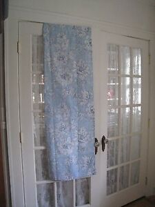 LAURA ASHLEY LIGHT BLUE & WHITE FABRIC SHOWER CURTAIN #212