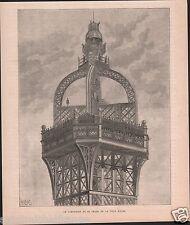 Phare Haut la Tour Eiffel Exposition universelle de Paris GRAVURE OLD PRINT 1889