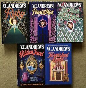 5 V.C.Andrews HARDCOVER Complete LANDRY Bk 1-5 Ruby-Hidden Jewel-Tarnished Gold