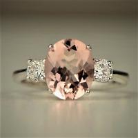 Natural Morganite Pink Gemstone Ring 925 Sterling Silver Women's Wedding Jewelry