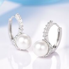 Silver Leverback Hoop Pearl Earrings Fashion Women Engagement Sapphire Crystal