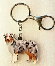 Australian Shepherd Aussie Realistic Dog Acrylic Key Ring Keychain Jewelry