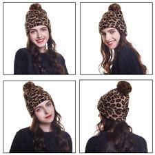 Women Knitted Hats Beanie Leopard Print Cap Warm Winter Skull Hat Ski Outdoor