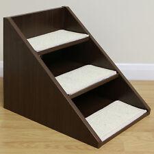 Dark Wood Non Slip Dog/Puppy/Cat 3 Step Pet Stairs Sofa/Bed/Car Steps/Ramp/Lift