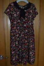 Ladies Vintage 60's Floral Print Short Sleeve Tea Dress with Collar Size 8 - 10