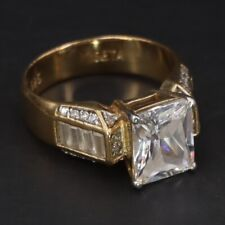 Gold Cocktail Ring Size 10 - 8g Sterling Silver Seta Cubic Zirconia Channel Set
