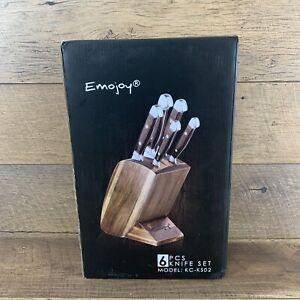 Emojoy 6 Pcs Knife Set, Pakka wood Block, Stainless Steel, Brown KC-KS02