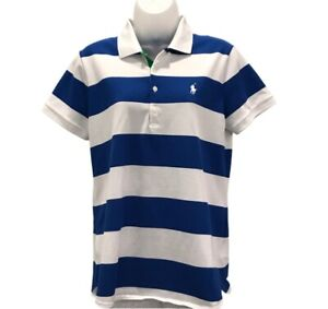 Polo Ralph Lauren Womens Golf Polo Shirt Blue Striped Tailored Fit Stretch M