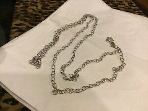 Extra Long white gold rolo chain necklace solid 10k