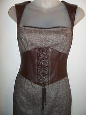 bebe 2 Dress Brown Tweed 100% Genuine Leather Career Professional Corset Chic