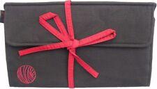 De Lujo Seda Intercambiables Aguja Tejer Rollo Case 30cmL Negro/Rojo