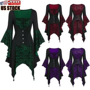 Women Steampunk Gothic Top Flare Long Sleeve Halloween Lace Skull T Shirt Blouse