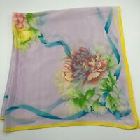 """32"""" Vintage White Yellow Floral Peony Made in Japan Thin Silk Scarf"""