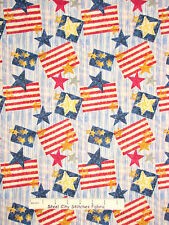 Patriotic Primitive Country Flag Star Stripe Cotton Fabric General Fabrics YARD