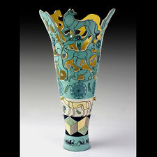 """Mariko Swisher Contemporary Ceramic Sculpted Art Vase """"Canines and Geometry"""""""