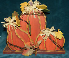 AWESOME LG PAINTED DISTRESSED WOOD PUMPKIN TRIO! FALL/THANKSGIVING/HALLOWEEN #1