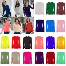 Women Long Sleeve Tshirt Top Ladies Round Neck Plain Tshirt Top All Sizes 8-26