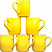 Bruntmor 12 OZ Porcelain Coffee Cups Mugs Set of 6 Large sized Gradient Yellow