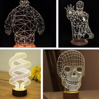 3D illusion Bulbing Night 7 Colors Skull Touch Switch Desk Table Lamp LED Light