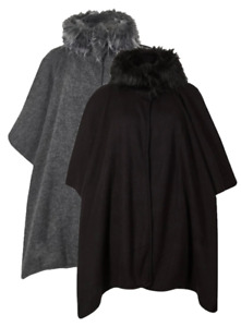 Ex Marks And Spencer Black Grey Faux Fur Collar Wrap Poncho Cape One Size