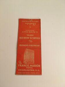 W1) Vintage Francis Marion Hotel Charleston South Carolina Matchbook Cover