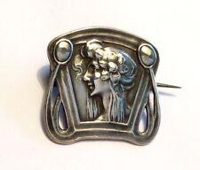 Piccolo Antico Art Nouveau Argento Sterling Spilla W Woman's Profile, prob tedesca