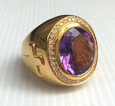 HUGE NATURAL AMETHYST CROSS 14K YELLOW GOLD SILVER CHRISTIAN BISHOP MEN RING NEW