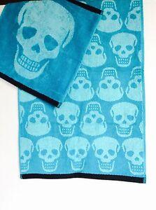 BETSEY JOHNSON SET Skelator Skull Turquoise Hand Towel + Washcloth