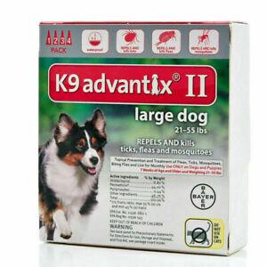 K9 Advantix II Large Dog Dogs 21-55 lbs 4 Month Control Fleas Ticks Mosquitoes