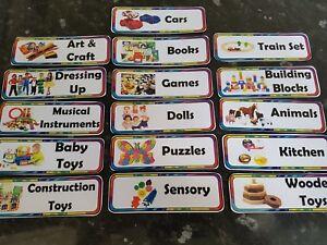 16 toy box labels childcare display labels toys 9cm x 3cm childminder nursery