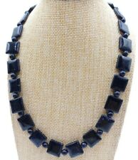 New Fashion 6-14mm Blue Sand Stone Square/Round Beads Jewellery Necklace 18''