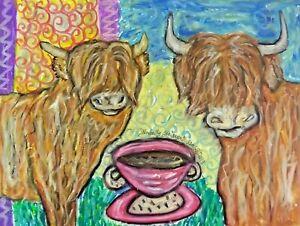 Scottish Highland Cow 11x14 Art Print / Poster, Wall Art, Home Decor Coffee