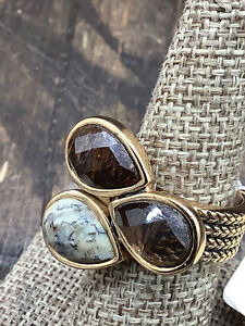 Barse Party of Three Ring- Mixed Stones & Bronze- 8- NWT