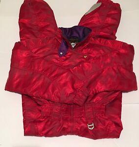 Descente Women's Pinkish Red Vintage Snowsuit Winter Sport Full Body Size 8