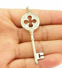 925 Sterling Silver - Topaz Accented Gold Plated Key Motif Pendant - P8198
