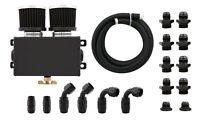 Alloy Baffled 1.2L Engine Oil Breather Can Tank Bottle Box w/ 3M Hose Kit Black