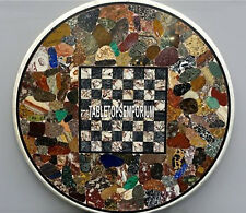 48'' White Marble Stone Chess Antique Table Top Handmade Mosaic Real Inlay Decor