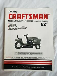 SEARS CRAFTSMAN TRACTOR  VINTAGE OWNERS MANUAL MODEL NO 917.259542